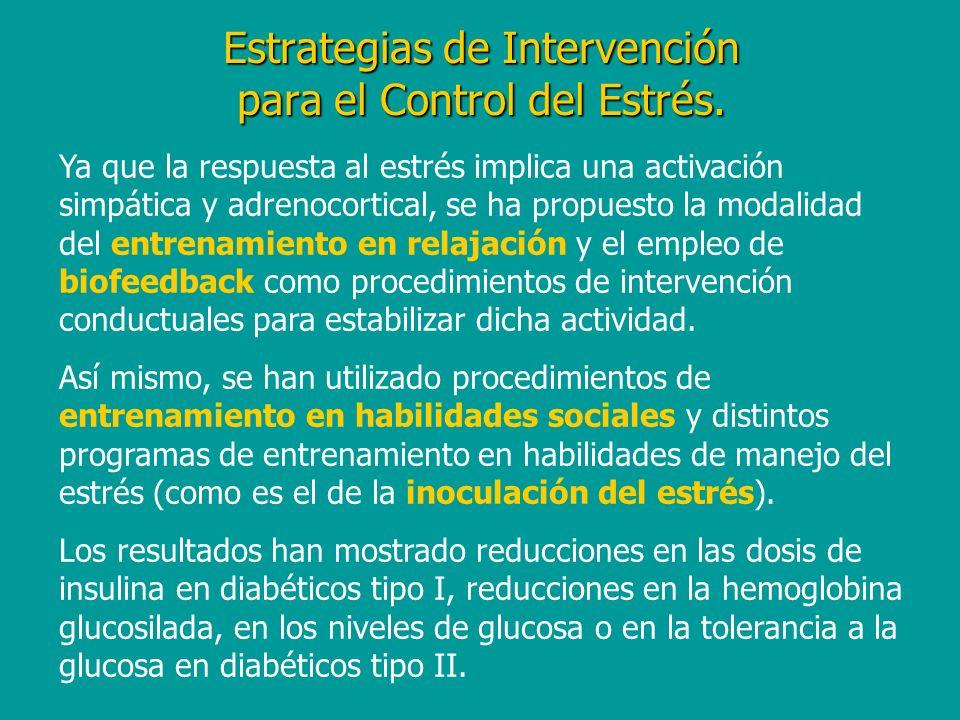 Estrategias de Intervención para el Control del Estrés. Ya que la respuesta al estrés implica una activación simpática y adrenocortical, se ha propues