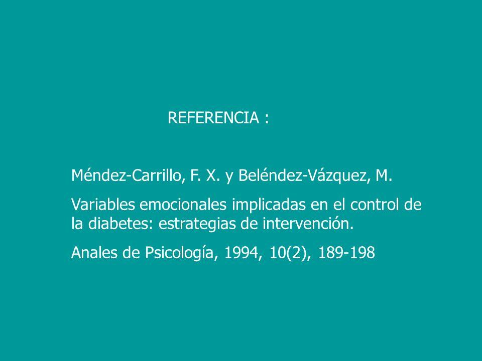 REFERENCIA : Méndez-Carrillo, F. X. y Beléndez-Vázquez, M. Variables emocionales implicadas en el control de la diabetes: estrategias de intervención.
