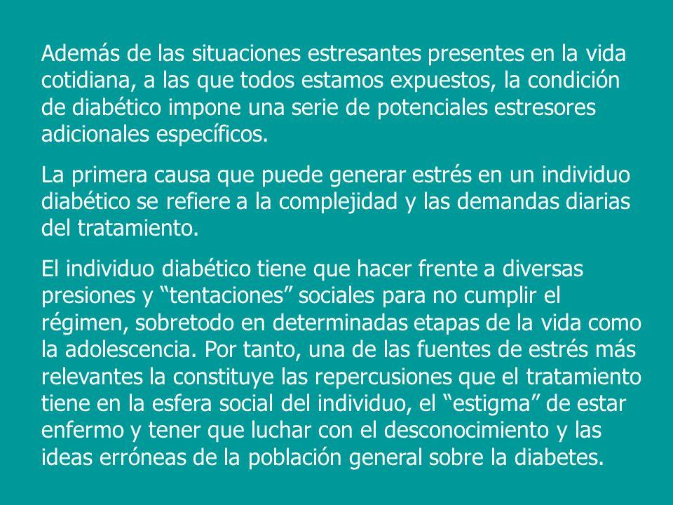 Por otra parte, ciertos efectos colaterales del tratamiento, como los episodios hipoglucémicos, bastante frecuentes sobre todo entre los insulinodependientes (Alberti, 1989), constituyen otra fuente de tensión para muchos diabéticos que pueden provocar el denominado miedo a la hipoglucemia (Snoek, Scholtes y Heine, 1991).