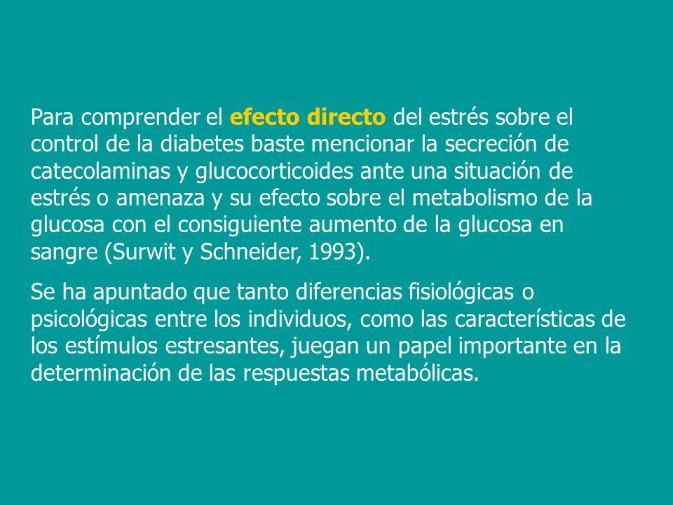 Para comprender el efecto directo del estrés sobre el control de la diabetes baste mencionar la secreción de catecolaminas y glucocorticoides ante una