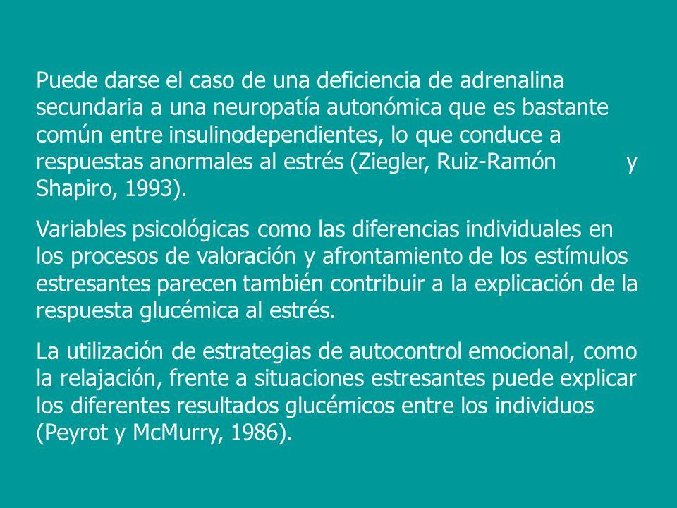 También existe alguna evidencia de que hay un subgrupo de diabéticos, que muestran un patrón de conducta tipo A, con una respuesta hiperglicémica al estrés agudo, a diferencia de los denominados diabéticos tipo B (Stabler, Surwit, Lane, Morris, Litton y Feinglos, 1987).