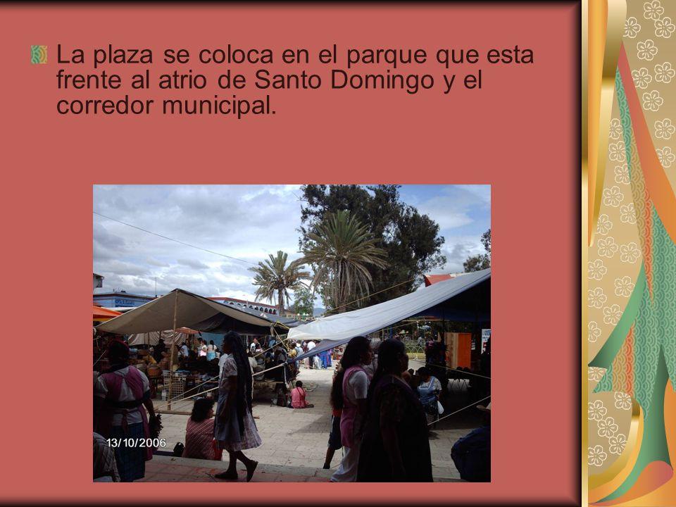 La plaza se coloca en el parque que esta frente al atrio de Santo Domingo y el corredor municipal.