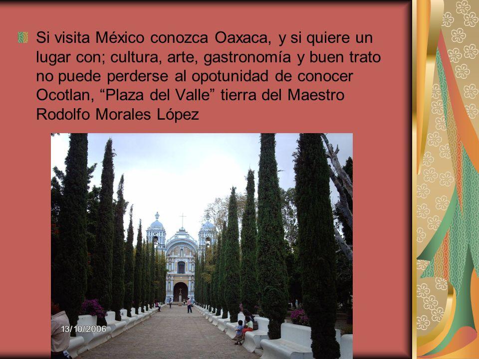 Si visita México conozca Oaxaca, y si quiere un lugar con; cultura, arte, gastronomía y buen trato no puede perderse al opotunidad de conocer Ocotlan,