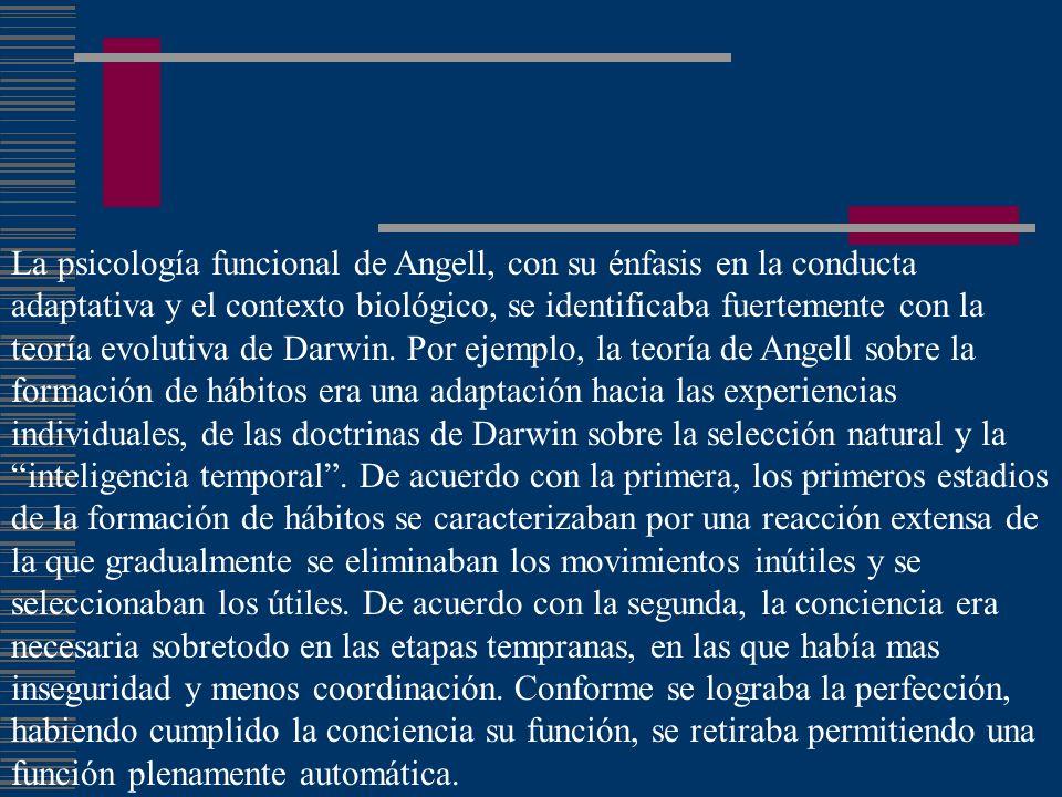La psicología funcional de Angell, con su énfasis en la conducta adaptativa y el contexto biológico, se identificaba fuertemente con la teoría evoluti