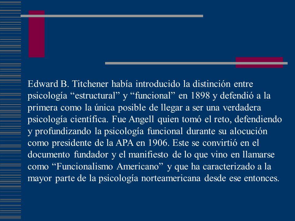 Edward B. Titchener había introducido la distinción entre psicología estructural y funcional en 1898 y defendió a la primera como la única posible de