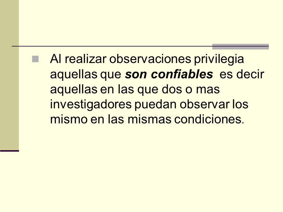 Al realizar observaciones privilegia aquellas que son confiables es decir aquellas en las que dos o mas investigadores puedan observar los mismo en la