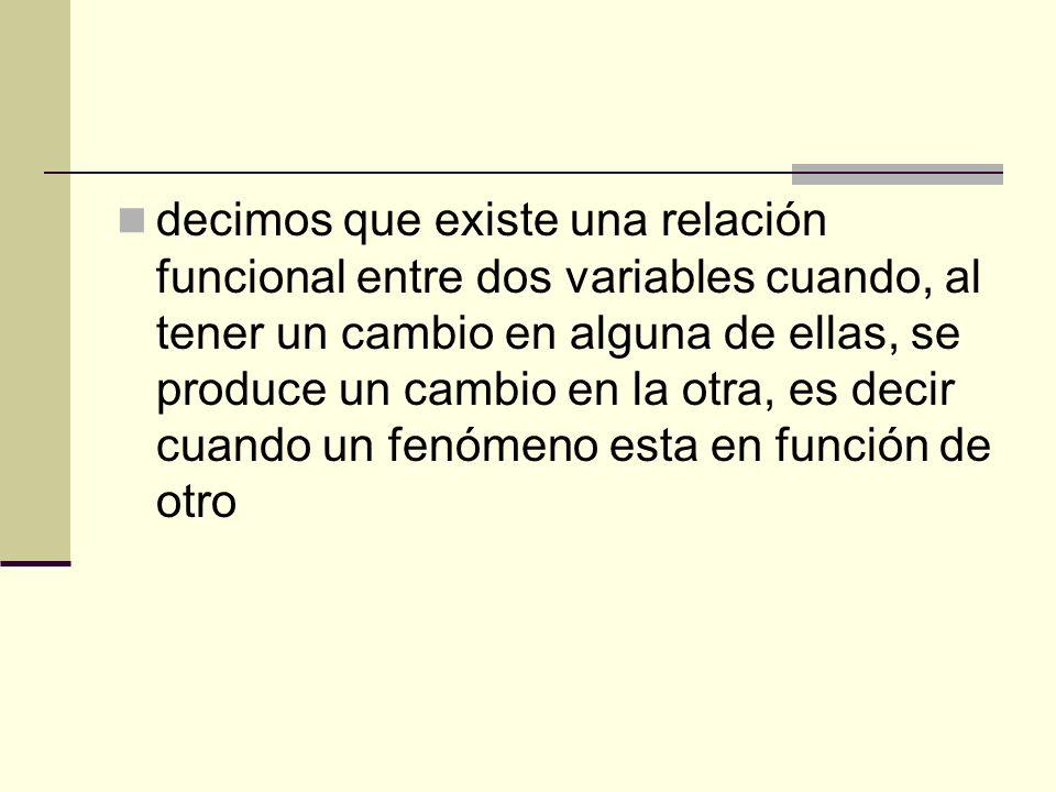 decimos que existe una relación funcional entre dos variables cuando, al tener un cambio en alguna de ellas, se produce un cambio en la otra, es decir
