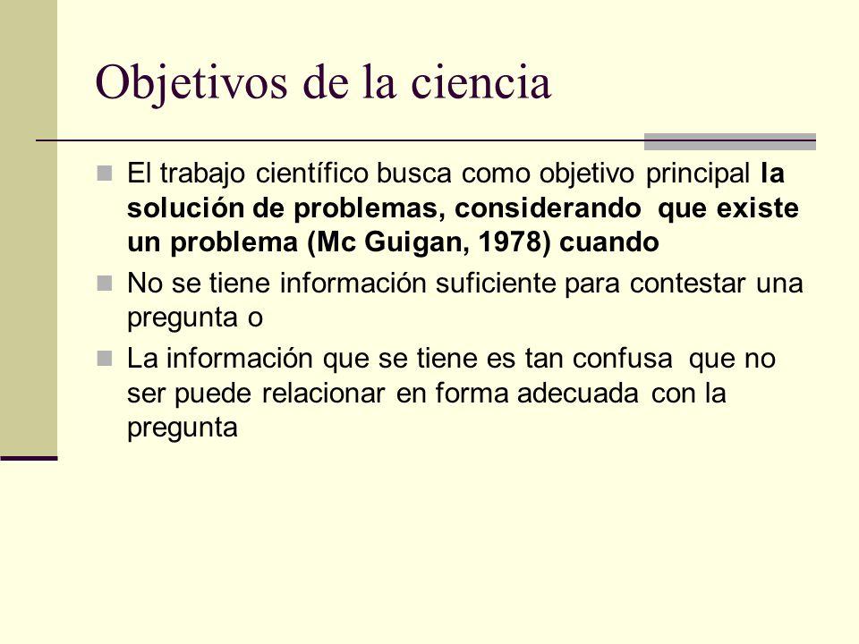 Objetivos de la ciencia El trabajo científico busca como objetivo principal la solución de problemas, considerando que existe un problema (Mc Guigan,