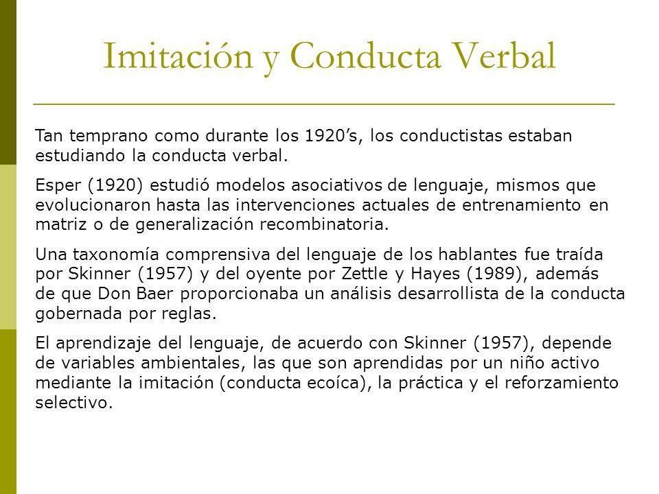 Imitación y Conducta Verbal Tan temprano como durante los 1920s, los conductistas estaban estudiando la conducta verbal. Esper (1920) estudió modelos