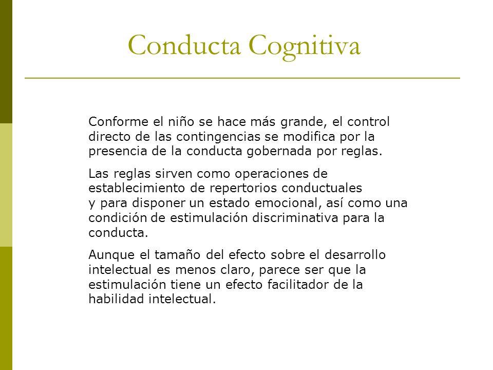 Conducta Cognitiva Conforme el niño se hace más grande, el control directo de las contingencias se modifica por la presencia de la conducta gobernada