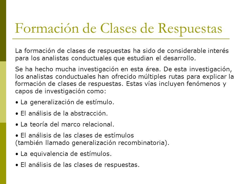 Formación de Clases de Respuestas La formación de clases de respuestas ha sido de considerable interés para los analistas conductuales que estudian el