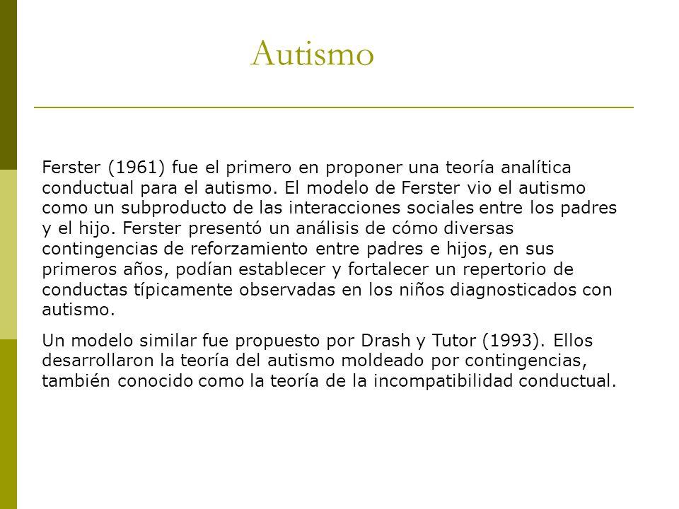 Autismo Ferster (1961) fue el primero en proponer una teoría analítica conductual para el autismo. El modelo de Ferster vio el autismo como un subprod