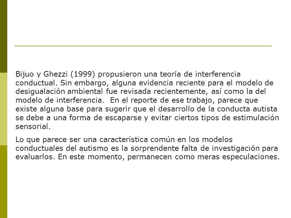 Bijuo y Ghezzi (1999) propusieron una teoría de interferencia conductual. Sin embargo, alguna evidencia reciente para el modelo de desigualación ambie