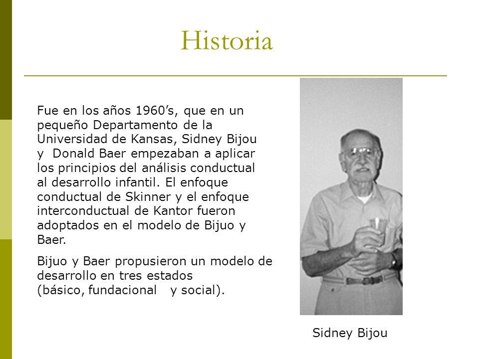 Historia Fue en los años 1960s, que en un pequeño Departamento de la Universidad de Kansas, Sidney Bijou y Donald Baer empezaban a aplicar los princip