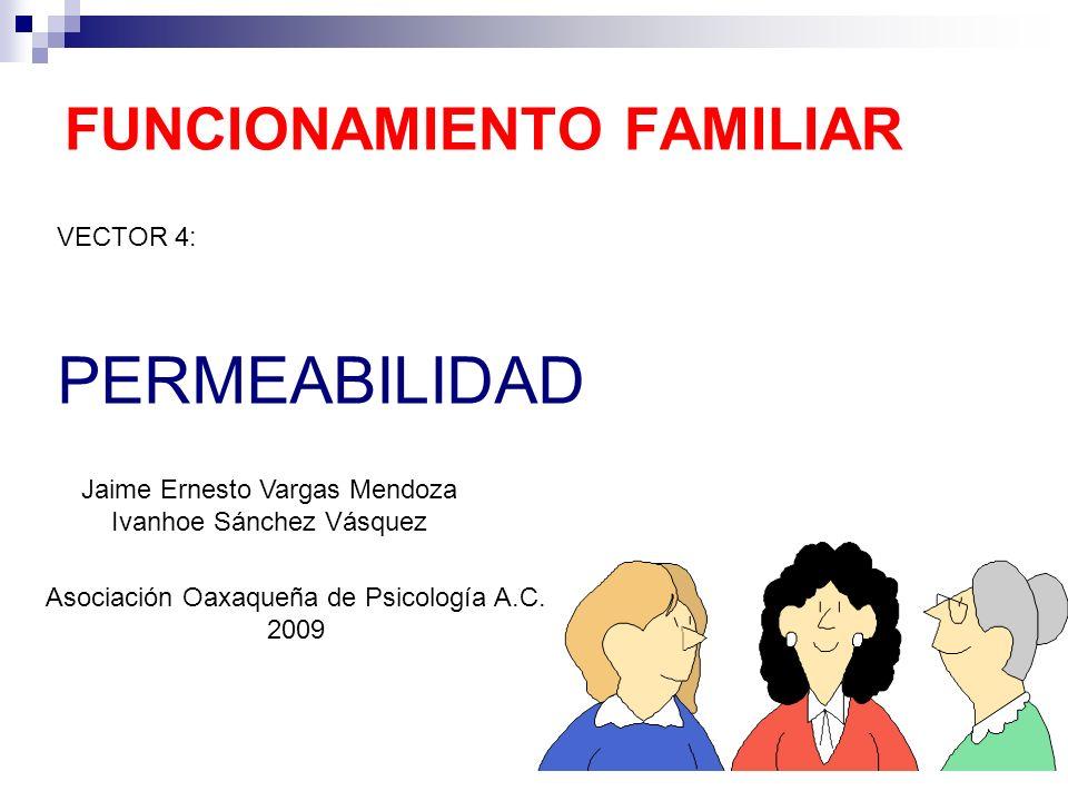 FUNCIONAMIENTO FAMILIAR VECTOR 4: PERMEABILIDAD Jaime Ernesto Vargas Mendoza Ivanhoe Sánchez Vásquez Asociación Oaxaqueña de Psicología A.C. 2009