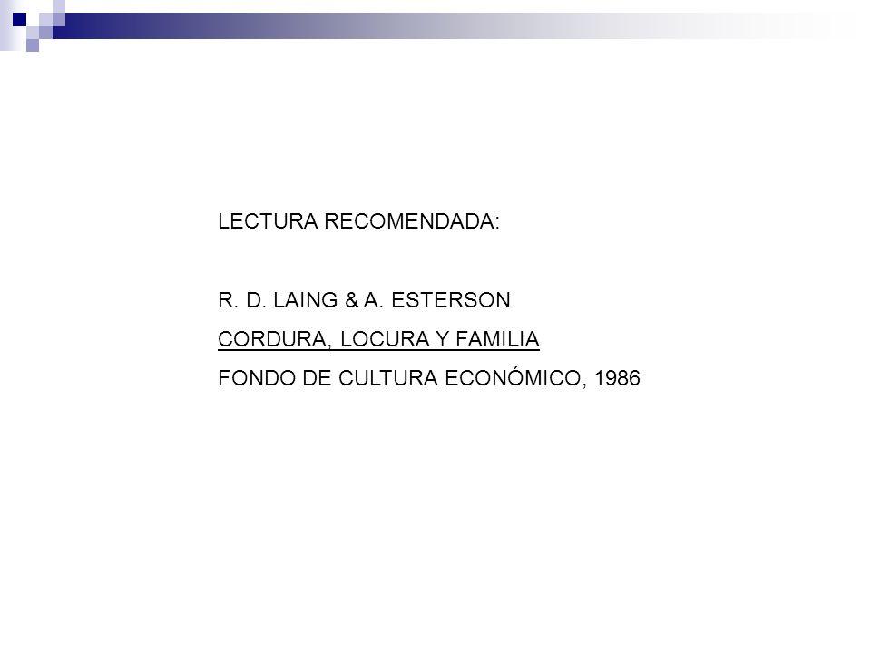 LECTURA RECOMENDADA: R. D. LAING & A. ESTERSON CORDURA, LOCURA Y FAMILIA FONDO DE CULTURA ECONÓMICO, 1986
