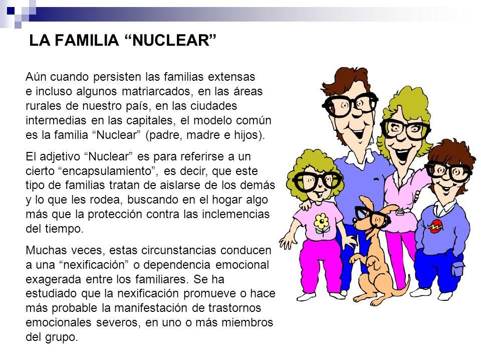 LA FAMILIA NUCLEAR Aún cuando persisten las familias extensas e incluso algunos matriarcados, en las áreas rurales de nuestro país, en las ciudades in