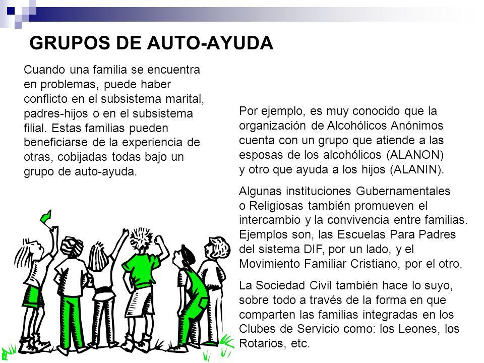 GRUPOS DE AUTO-AYUDA Por ejemplo, es muy conocido que la organización de Alcohólicos Anónimos cuenta con un grupo que atiende a las esposas de los alc