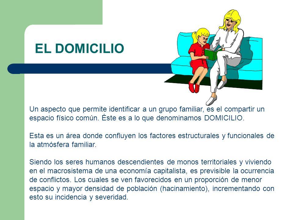 EL DOMICILIO Un aspecto que permite identificar a un grupo familiar, es el compartir un espacio físico común. Éste es a lo que denominamos DOMICILIO.