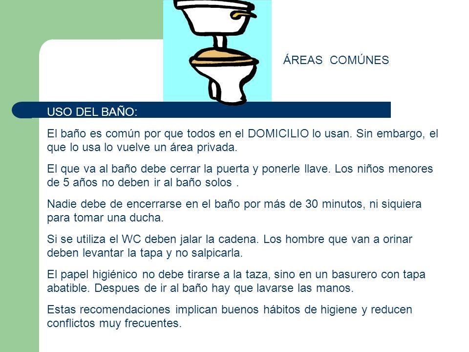 ÁREAS COMÚNES USO DEL BAÑO: El baño es común por que todos en el DOMICILIO lo usan. Sin embargo, el que lo usa lo vuelve un área privada. El que va al