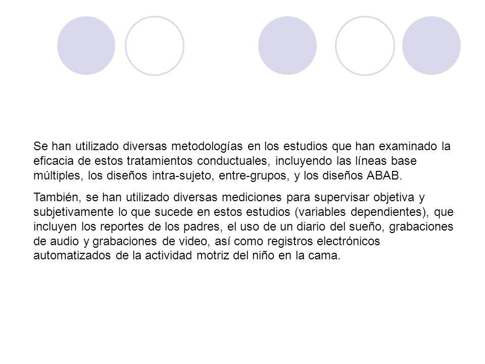 Se han utilizado diversas metodologías en los estudios que han examinado la eficacia de estos tratamientos conductuales, incluyendo las líneas base múltiples, los diseños intra-sujeto, entre-grupos, y los diseños ABAB.