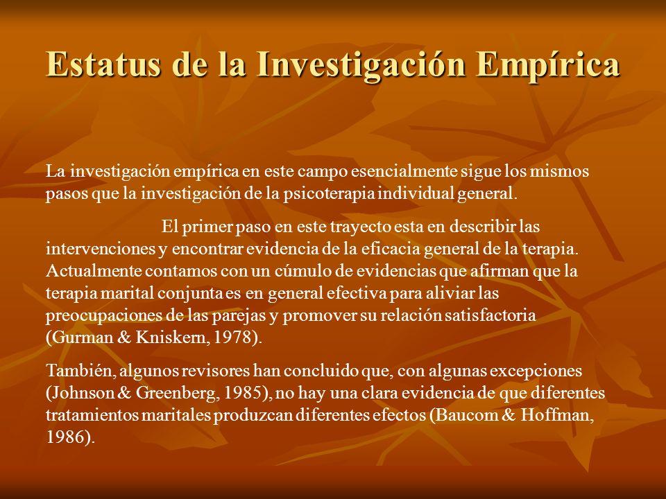 Estatus de la Investigación Empírica La investigación empírica en este campo esencialmente sigue los mismos pasos que la investigación de la psicoterapia individual general.