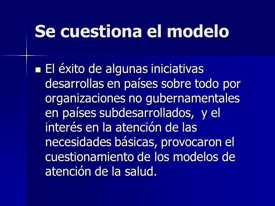 Se cuestiona el modelo El éxito de algunas iniciativas desarrollas en países sobre todo por organizaciones no gubernamentales en países subdesarrollad