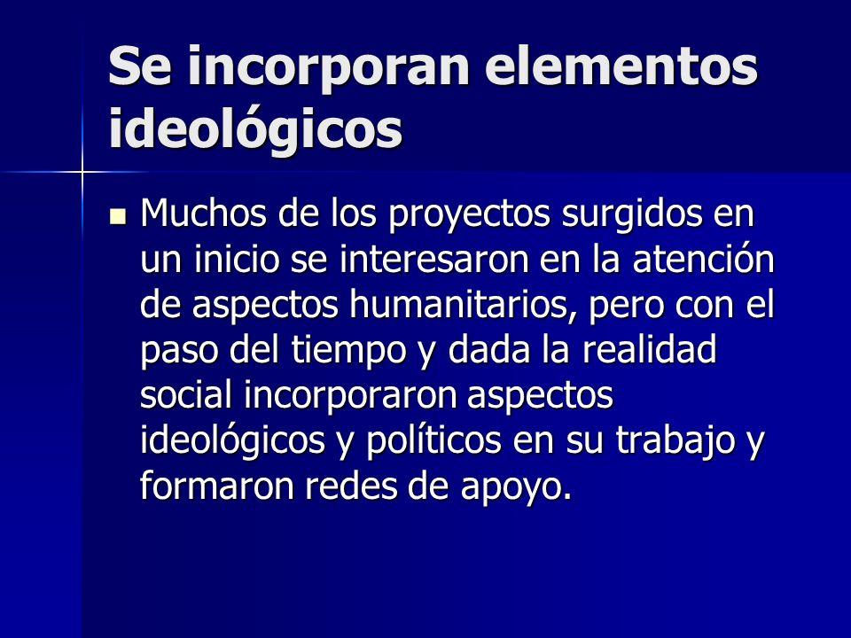Se incorporan elementos ideológicos Muchos de los proyectos surgidos en un inicio se interesaron en la atención de aspectos humanitarios, pero con el