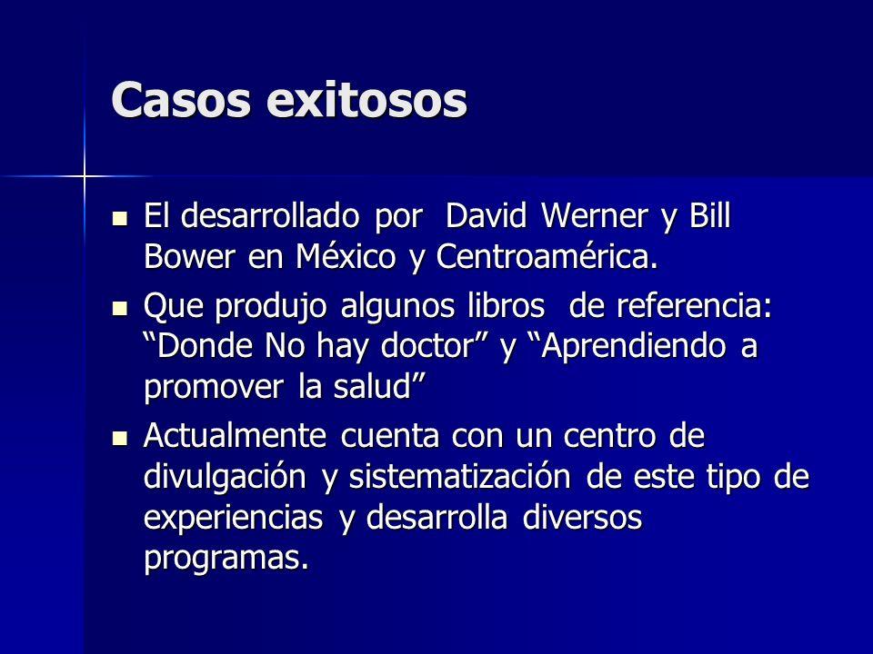 Casos exitosos El desarrollado por David Werner y Bill Bower en México y Centroamérica. El desarrollado por David Werner y Bill Bower en México y Cent