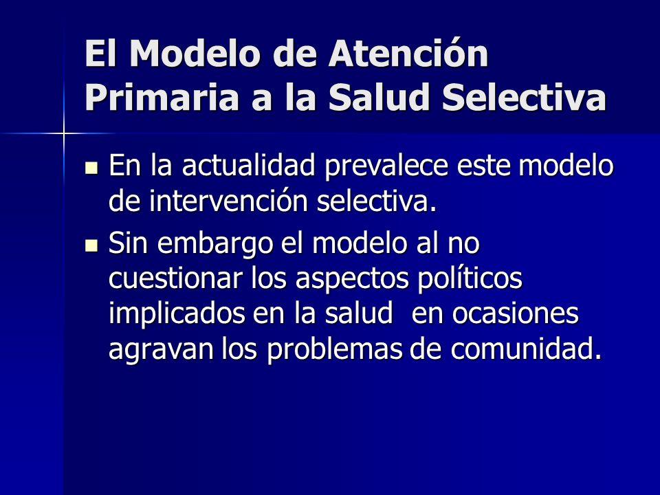 El Modelo de Atención Primaria a la Salud Selectiva En la actualidad prevalece este modelo de intervención selectiva. En la actualidad prevalece este