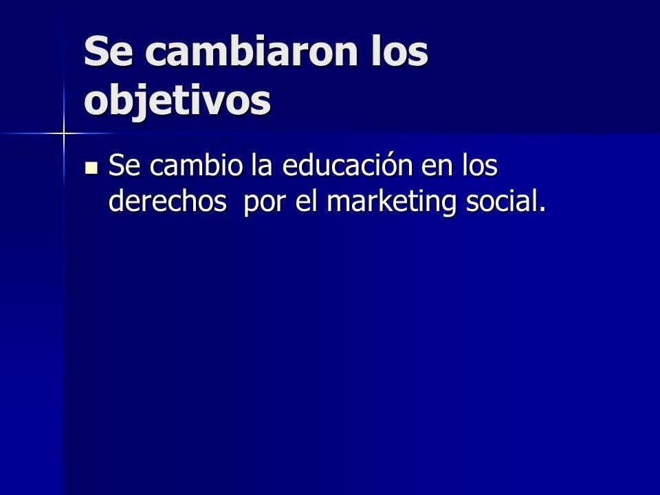 Se cambiaron los objetivos Se cambio la educación en los derechos por el marketing social. Se cambio la educación en los derechos por el marketing soc