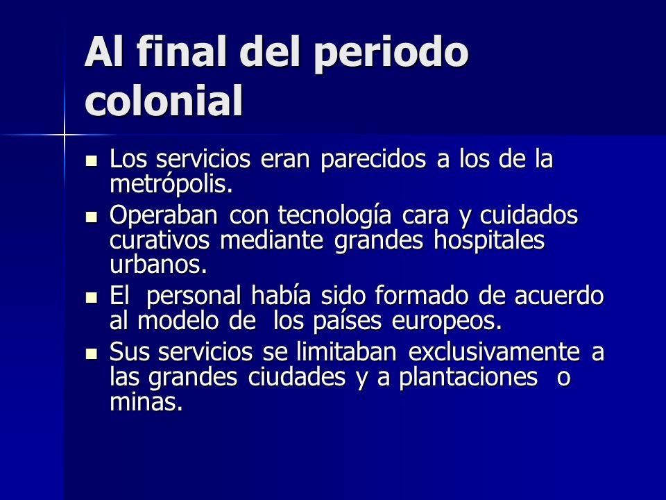 Al final del periodo colonial Los servicios eran parecidos a los de la metrópolis. Los servicios eran parecidos a los de la metrópolis. Operaban con t