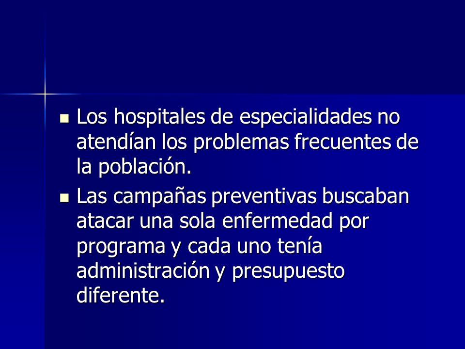 Los hospitales de especialidades no atendían los problemas frecuentes de la población. Los hospitales de especialidades no atendían los problemas frec
