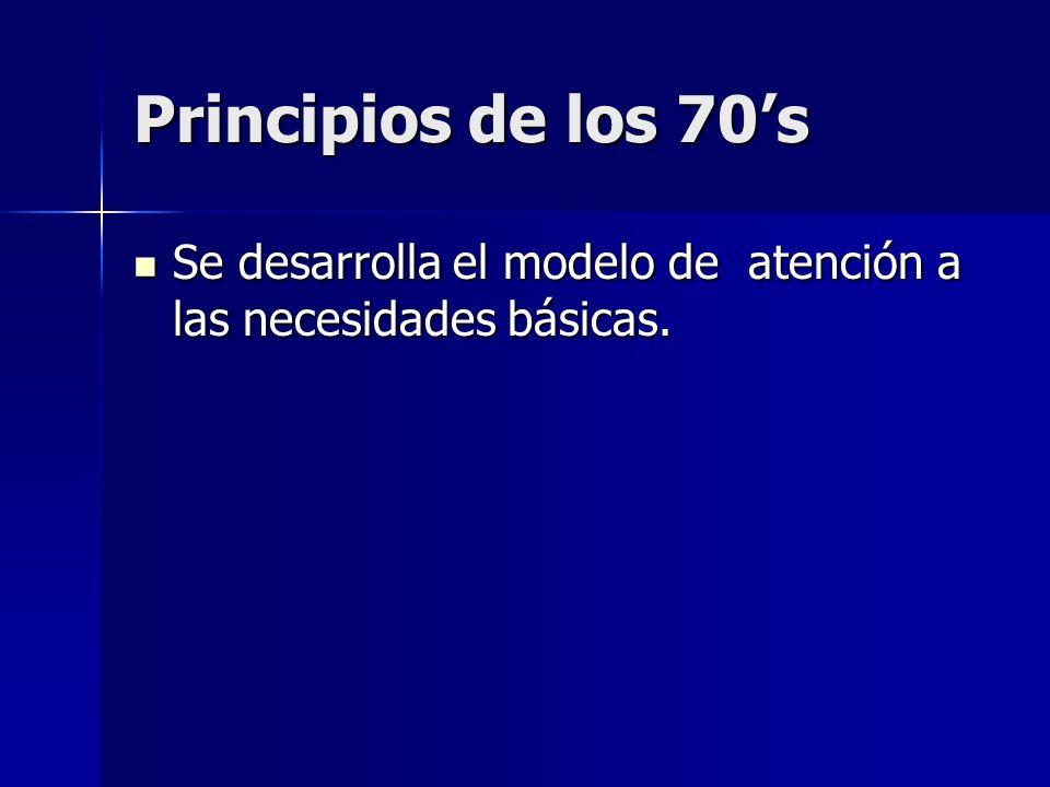 Principios de los 70s Se desarrolla el modelo de atención a las necesidades básicas. Se desarrolla el modelo de atención a las necesidades básicas.