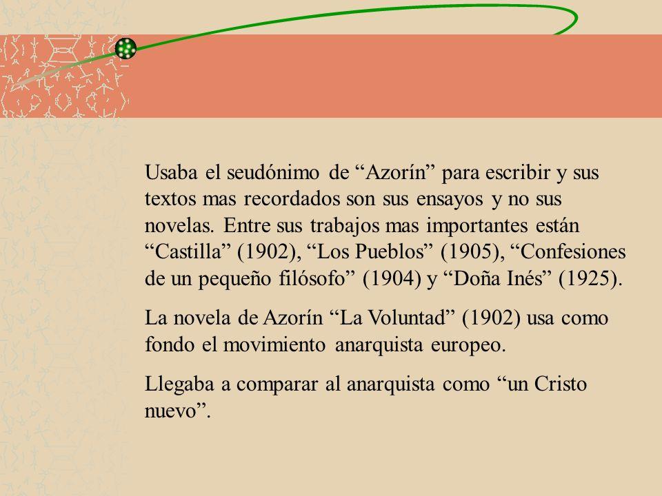 Usaba el seudónimo de Azorín para escribir y sus textos mas recordados son sus ensayos y no sus novelas. Entre sus trabajos mas importantes están Cast