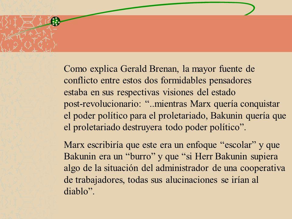 Citemos algún pasaje de su última obra Statism and Anarchy (1873): Nosotros, los anarquistas revolucionarios, promovemos la educación de toda la gente, la emancipación y la expansión mas amplia posible de la vida social.