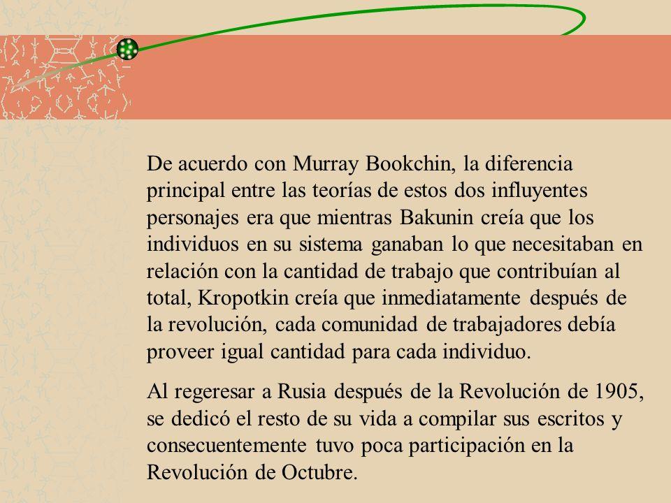 De acuerdo con Murray Bookchin, la diferencia principal entre las teorías de estos dos influyentes personajes era que mientras Bakunin creía que los i