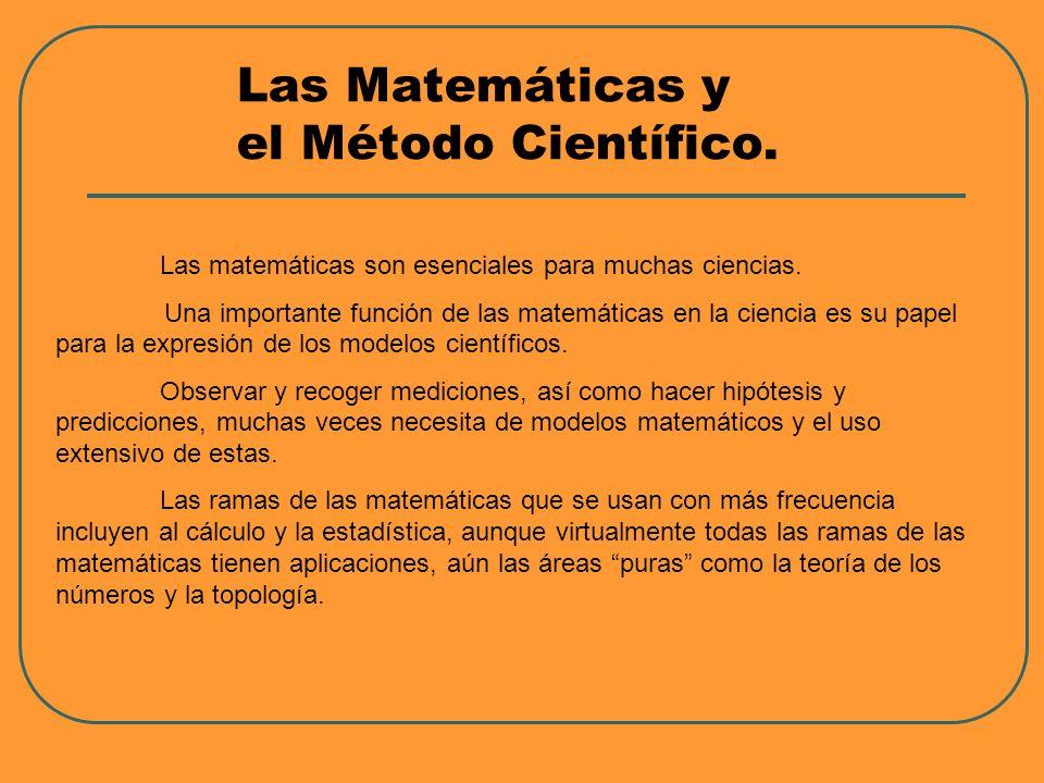 Las Matemáticas y el Método Científico. Las matemáticas son esenciales para muchas ciencias. Una importante función de las matemáticas en la ciencia e