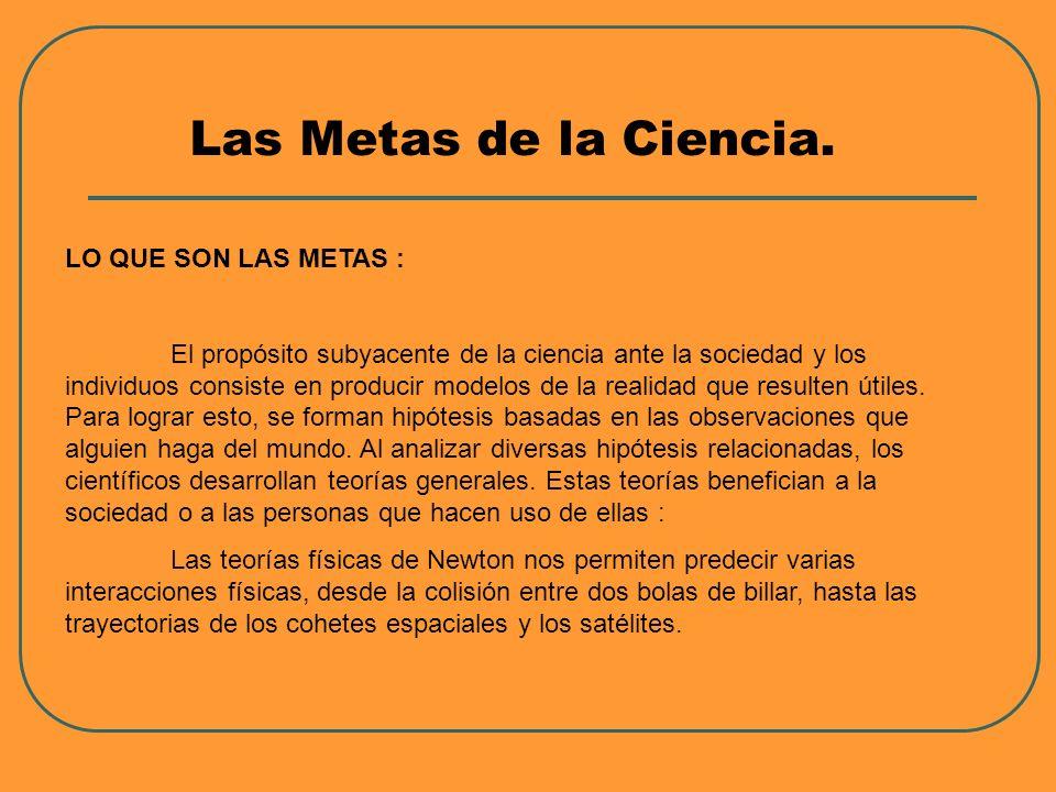 Las Metas de la Ciencia. LO QUE SON LAS METAS : El propósito subyacente de la ciencia ante la sociedad y los individuos consiste en producir modelos d