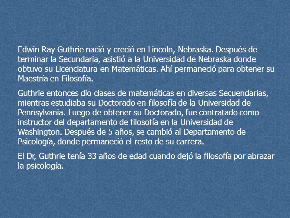 Edwin Ray Guthrie nació y creció en Lincoln, Nebraska. Después de terminar la Secundaria, asistió a la Universidad de Nebraska donde obtuvo su Licenci