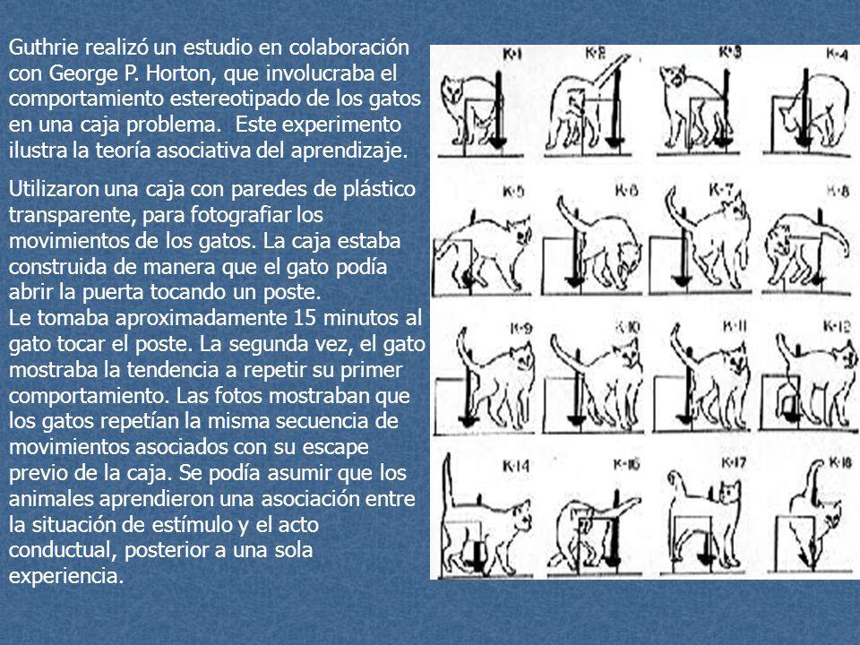 Guthrie realizó un estudio en colaboración con George P. Horton, que involucraba el comportamiento estereotipado de los gatos en una caja problema. Es