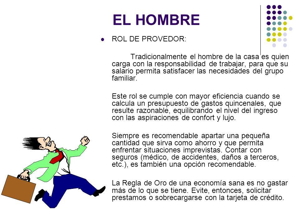 EL HOMBRE ROL DE PROVEDOR: Tradicionalmente el hombre de la casa es quien carga con la responsabilidad de trabajar, para que su salario permita satisf