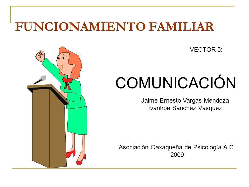 VECTOR 5: COMUNICACIÓN FUNCIONAMIENTO FAMILIAR Jaime Ernesto Vargas Mendoza Ivanhoe Sánchez Vásquez Asociación Oaxaqueña de Psicología A.C. 2009