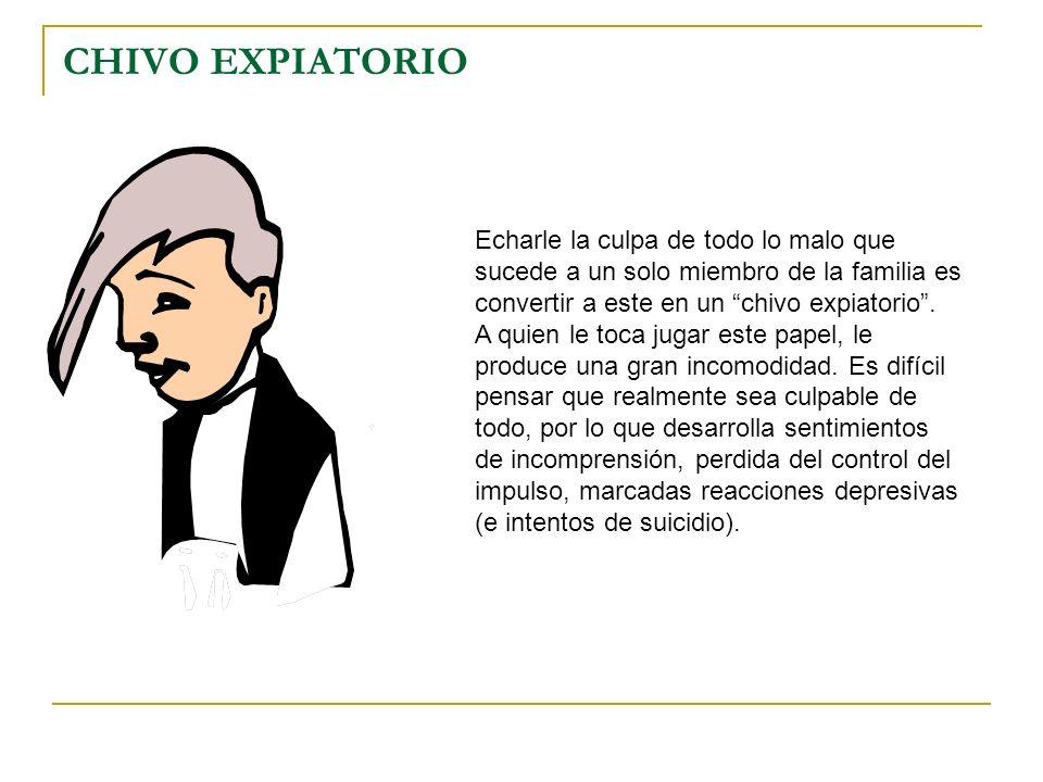 CHIVO EXPIATORIO Echarle la culpa de todo lo malo que sucede a un solo miembro de la familia es convertir a este en un chivo expiatorio. A quien le to