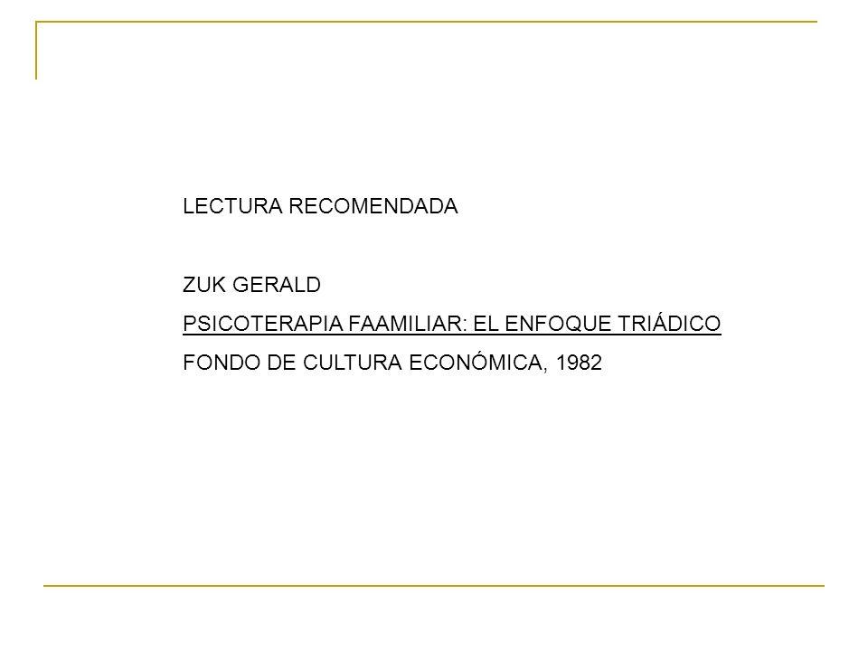 LECTURA RECOMENDADA ZUK GERALD PSICOTERAPIA FAAMILIAR: EL ENFOQUE TRIÁDICO FONDO DE CULTURA ECONÓMICA, 1982