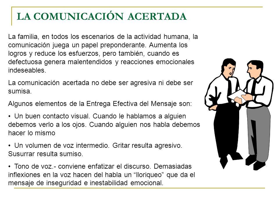 LA COMUNICACIÓN ACERTADA La familia, en todos los escenarios de la actividad humana, la comunicación juega un papel preponderante. Aumenta los logros