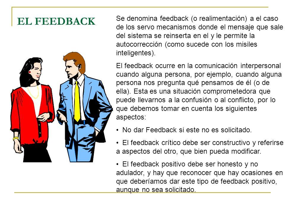 EL FEEDBACK Se denomina feedback (o realimentación) a el caso de los servo mecanismos donde el mensaje que sale del sistema se reinserta en el y le pe