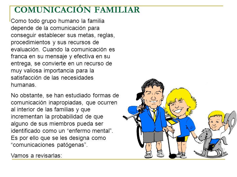 COMUNICACIÓN FAMILIAR Como todo grupo humano la familia depende de la comunicación para conseguir establecer sus metas, reglas, procedimientos y sus r