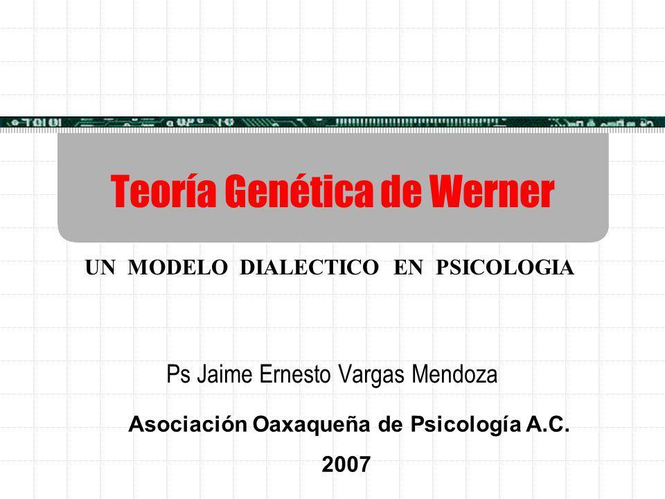Teoría Genética de Werner Ps Jaime Ernesto Vargas Mendoza Asociación Oaxaqueña de Psicología A.C. 2007 UN MODELO DIALECTICO EN PSICOLOGIA