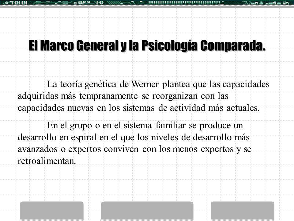 El Marco General y la Psicología Comparada. La teoría genética de Werner plantea que las capacidades adquiridas más tempranamente se reorganizan con l